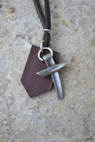 2 Piece Pewter Nail Cross on Leather - Leather Necklace