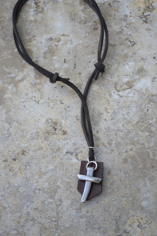 2 PIECE Pewter Nail Cross on Leather- Leather Necklace