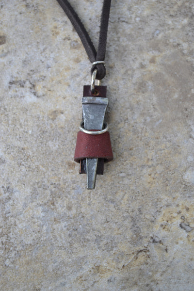 Pewter Nail with Leather strap - Leather Necklace