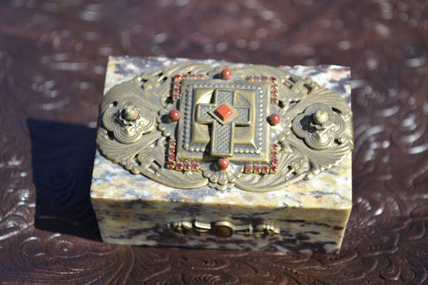 Red and Carnelian stone Brass Cross box