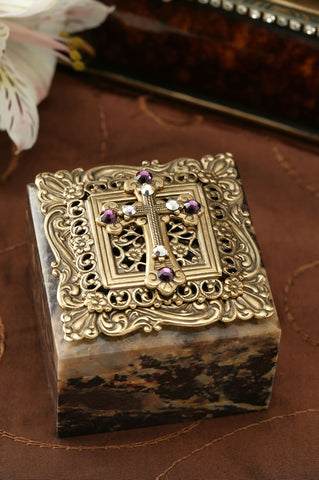 Swarovski® Crystal Cross Square Stone Box
