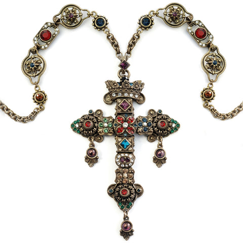 Gothic Gemstone Cross Necklace