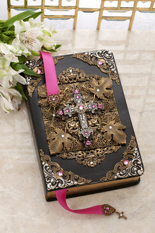 NAB Antique Silver and Rose Crystal Jeweled Large Print Leather Bible