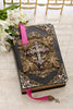 NAB Antique Silver and Rose Crystal Jeweled Leather Bible