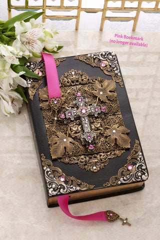 KJV Antique Silver and Rose Crystal Cross Family Bible