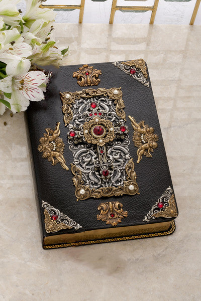 KJV Giant Print Antique Brass and Silver with Red Swarovski© Crystals