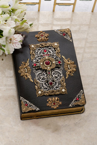 KJV Giant Print Leather Bible Antique Brass and Silver with Red Swarovski© Crystals