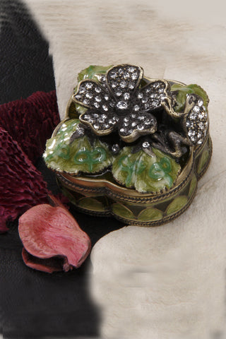 After Christmas Sale ON SALE Frog & Floral Trinket Box