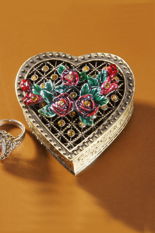 ON SALE Crystal & Flower Brass Heart Box