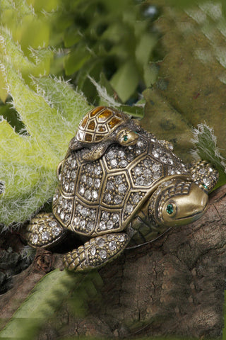 New Years Sale ON SALE Mama & Baby Turtle Box with Pave-set Rhinestones