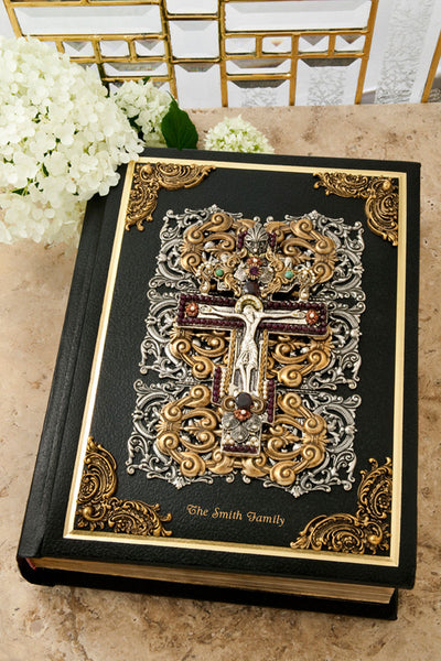 Jeweled Garnet Crucifix Large Print Family Bible RSV Catholic
