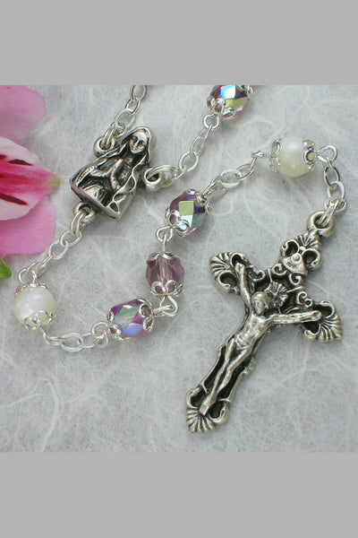 Michele Amethyst Faceted Glass Bead Rosary with Mother of Pearl Our Father Beads