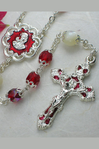 Michele Ruby Faceted Glass Bead Rosary with Mother of Pearl Our Father Beads