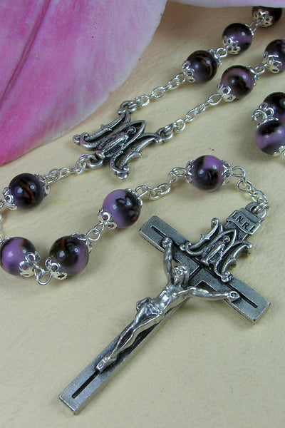 Elisa Flower Fantasy on Amethyst Glass Bead INRI Rosary