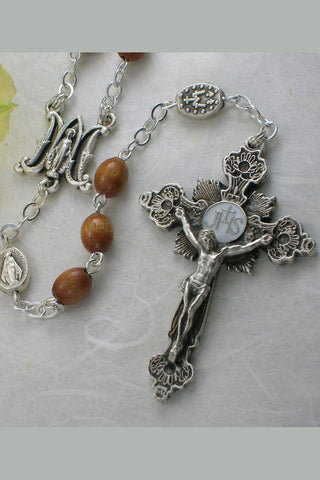 Miraculous Medal Olive Wood Bead Rosary