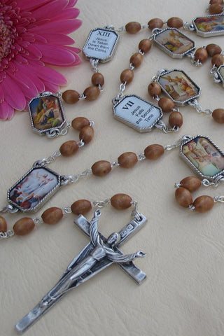 Olive Wood Bead Risen Christ Rosary with 14 Stations of The Way of The Cross