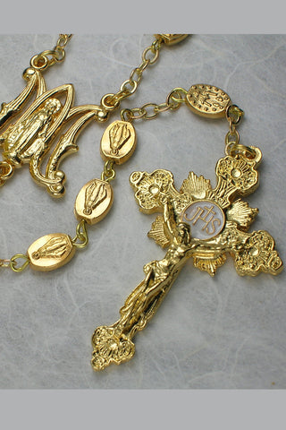 Matteo Shiny Gold Bead Rosary featuring Miraculous Medal