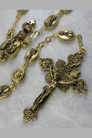 Matteo Antique Gold Bead Rosary