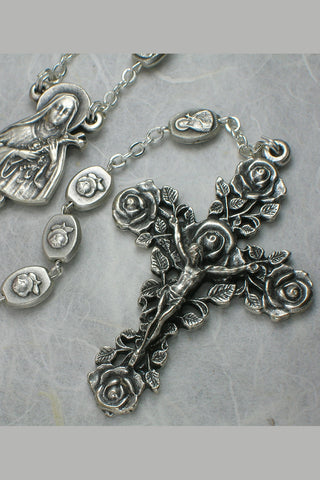 Matteo Antique Silver Bead Rosary featuring St. Therese of Lisieux