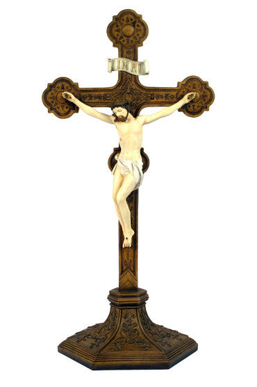 Standing Handpainted Bronze Crucifix