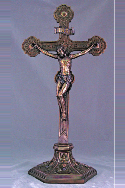 Standing Ornate Bronze Crucifix