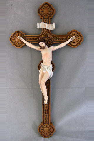 Cast Handpainted Wall Crucifix