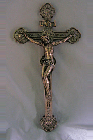 Cast Bronze Handpainted Wall Crucifix