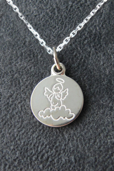 ON SALE Little Angel Sterling Silver Medal 55% off