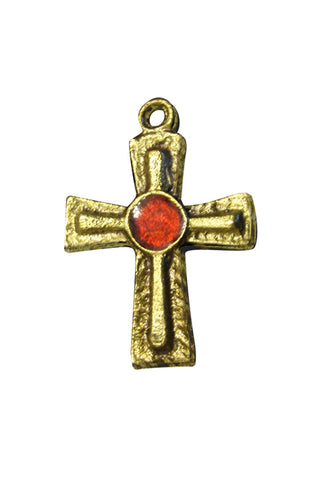 Bronze Cross with Enamel Center