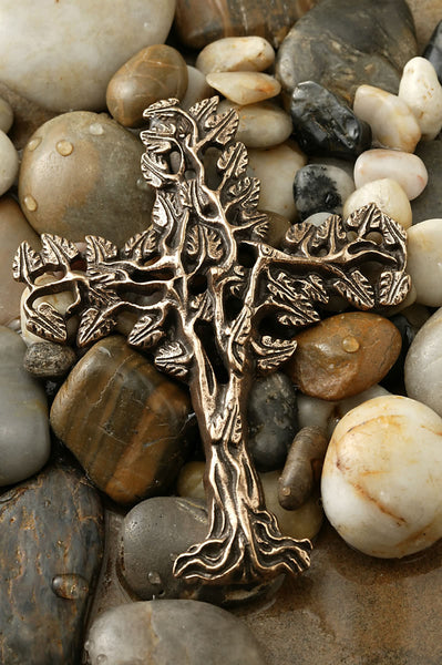 "10.5 "" Filigree Tree of Life Bronze Cross"