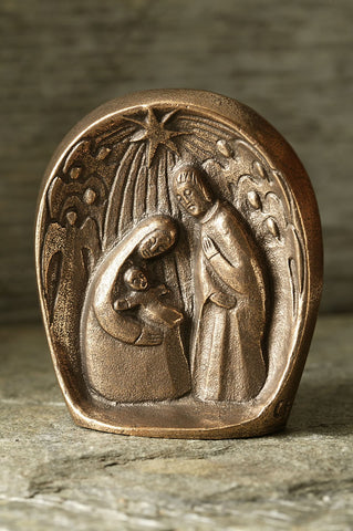 Bronze Freestanding Nativity Scene with Angels