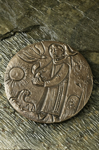 St. Francis of Assissi Bronze Plaque-Round