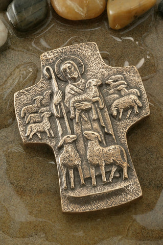 Good Shepherd Bronze Cross-3.5 inches