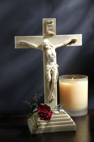 Standing Antique Alabaster Crucifix