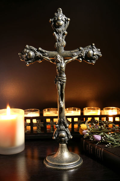Ornate Standing Brass Crucifix
