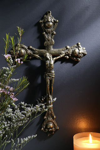 Brass Filigree Wall Crucifix