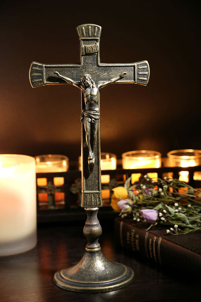 Standing Brass Crucifix