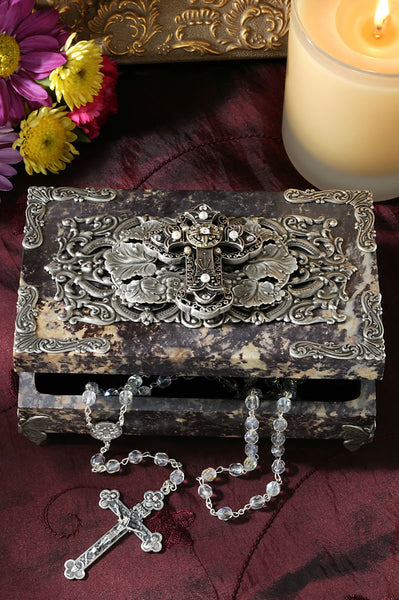Stone Cross Box with Faux Pearls and Swarovski® Crystals