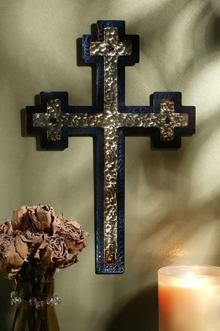"12"" Jeweled Steel Calvary Wall Cross"
