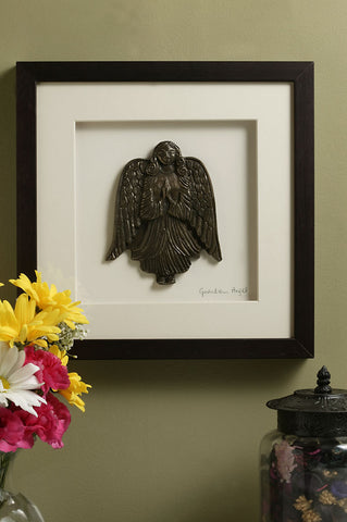 Framed Bronze Guardian Angel Wall Plaque
