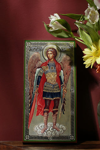 Archangel Michael Metallic Foil Icon