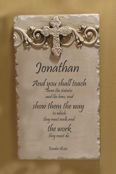 Exodus 18:20 Personalized Name Plaque