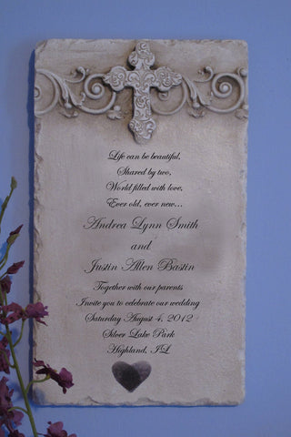 Custom Wedding Invitation Stone Plaque Cross Long