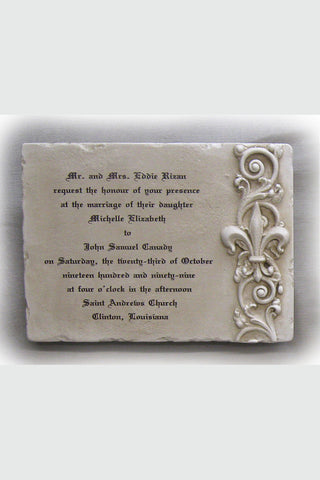 Custom Wedding Invitation Stone Plaque Fleur De Lis Horizontal