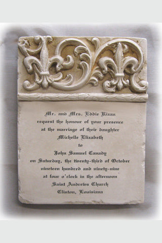 Custom Wedding Invitation Stone Plaque Double Fleur De Lis Short