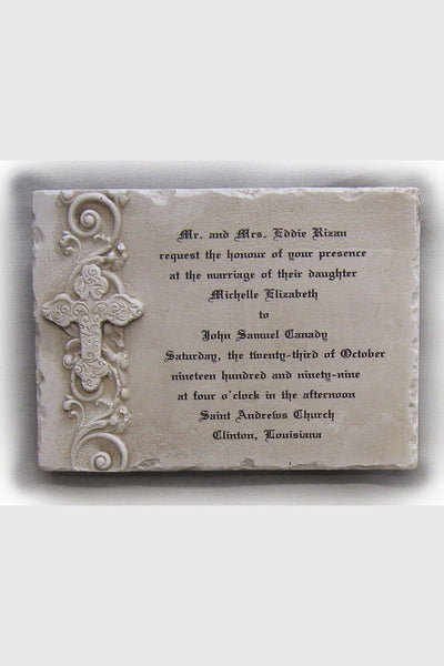 Custom Wedding Invitation Stone Plaque Cross Horizontal