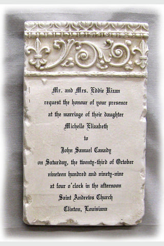 Custom Wedding Invitation Stone Plaque Scrolls Long
