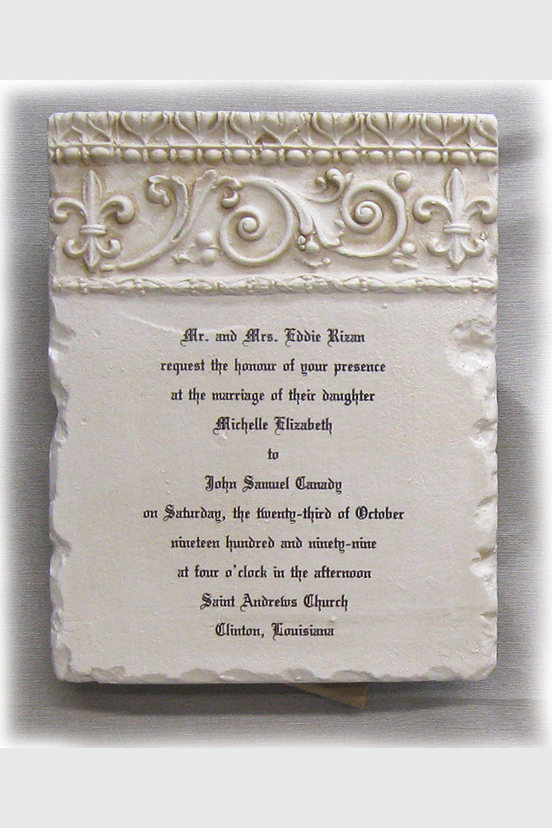 Custom Wedding Invitation Stone Plaque Scrolls Short Celebrate Faith