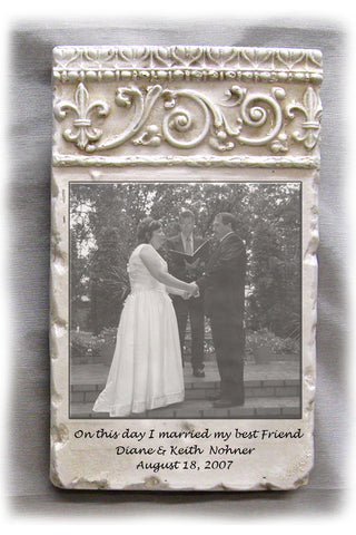 Custom Photo Plaque - Vertical Damask Header- Color or Blk/Wht
