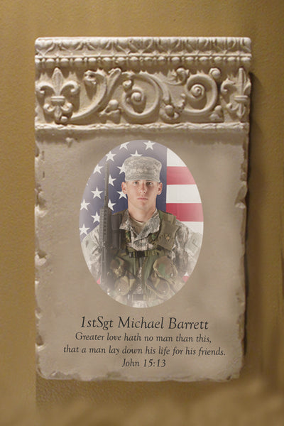 Custom Photo Military Plaque - John 15:13- Vertical Scroll Header
